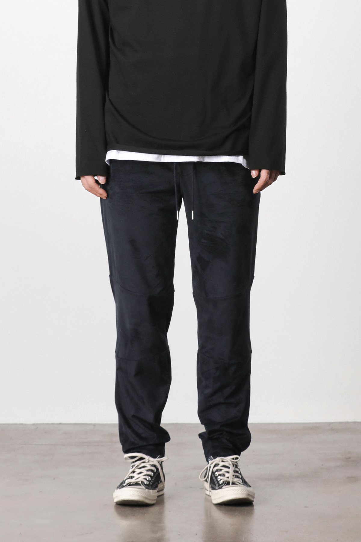 Suede loose fit pants (navy) #jp06