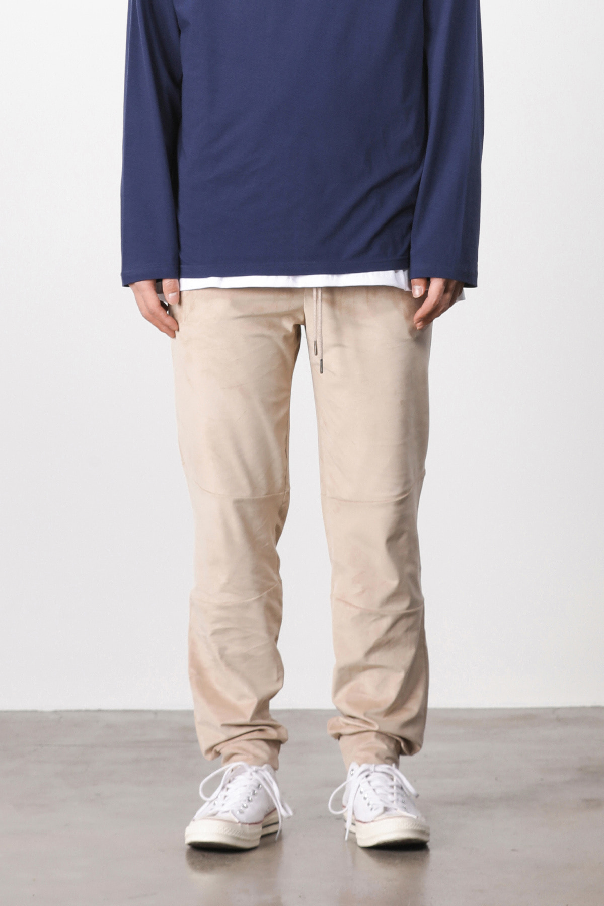 Suede loose fit pants (beige) #jp05