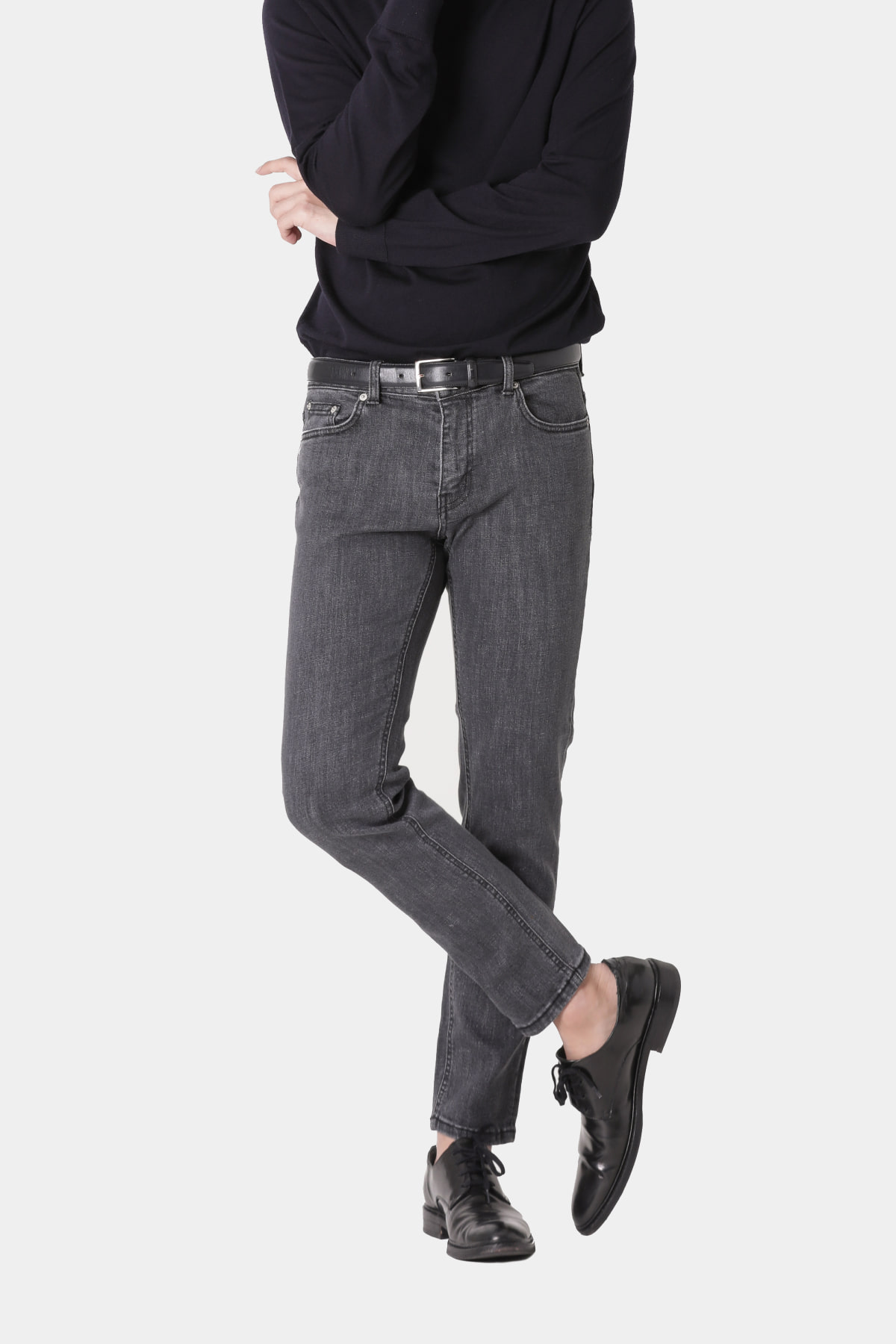 #0167 charcoal grey washed slim crop fit