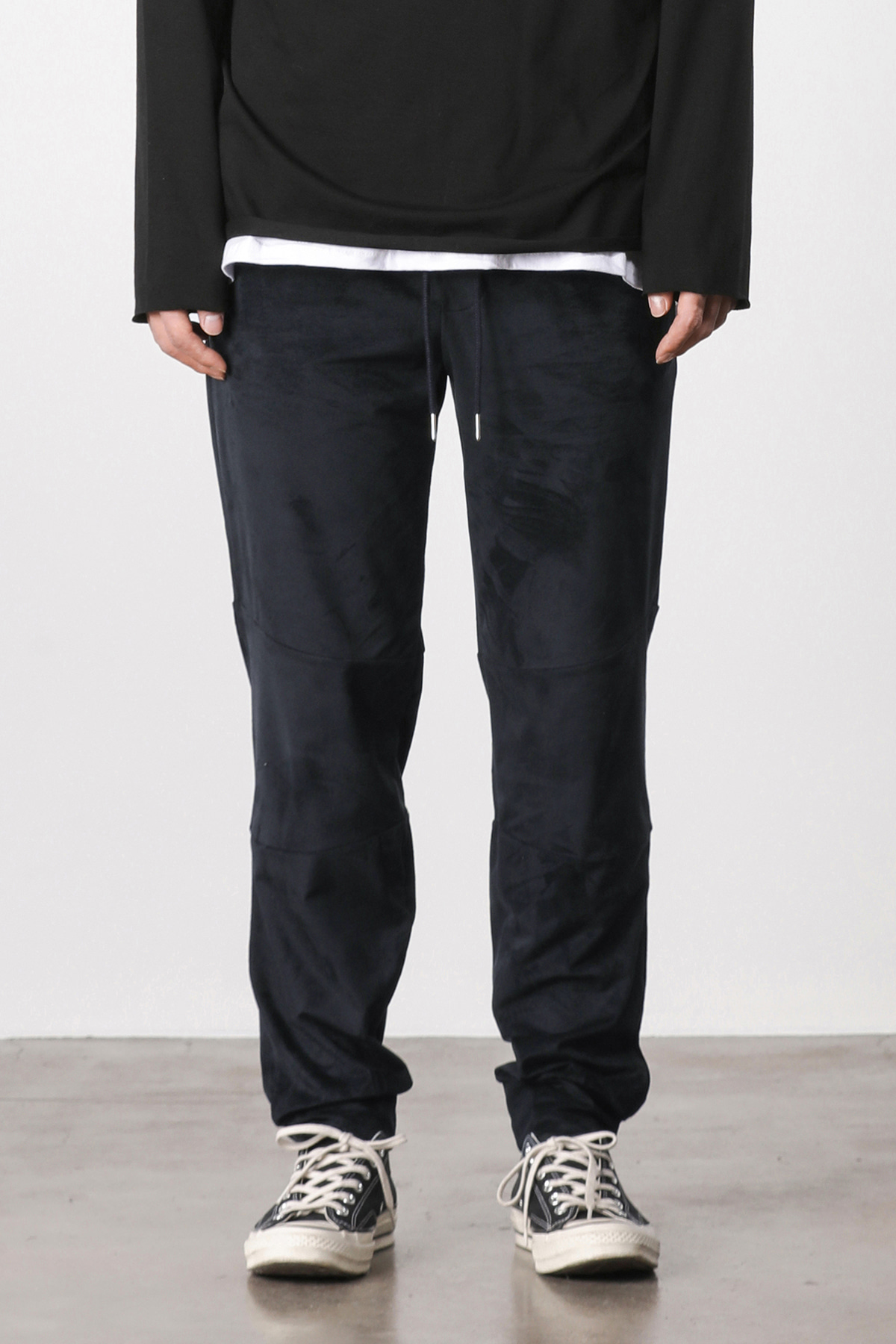Suede loose fit jogger pants (navy) #jp06