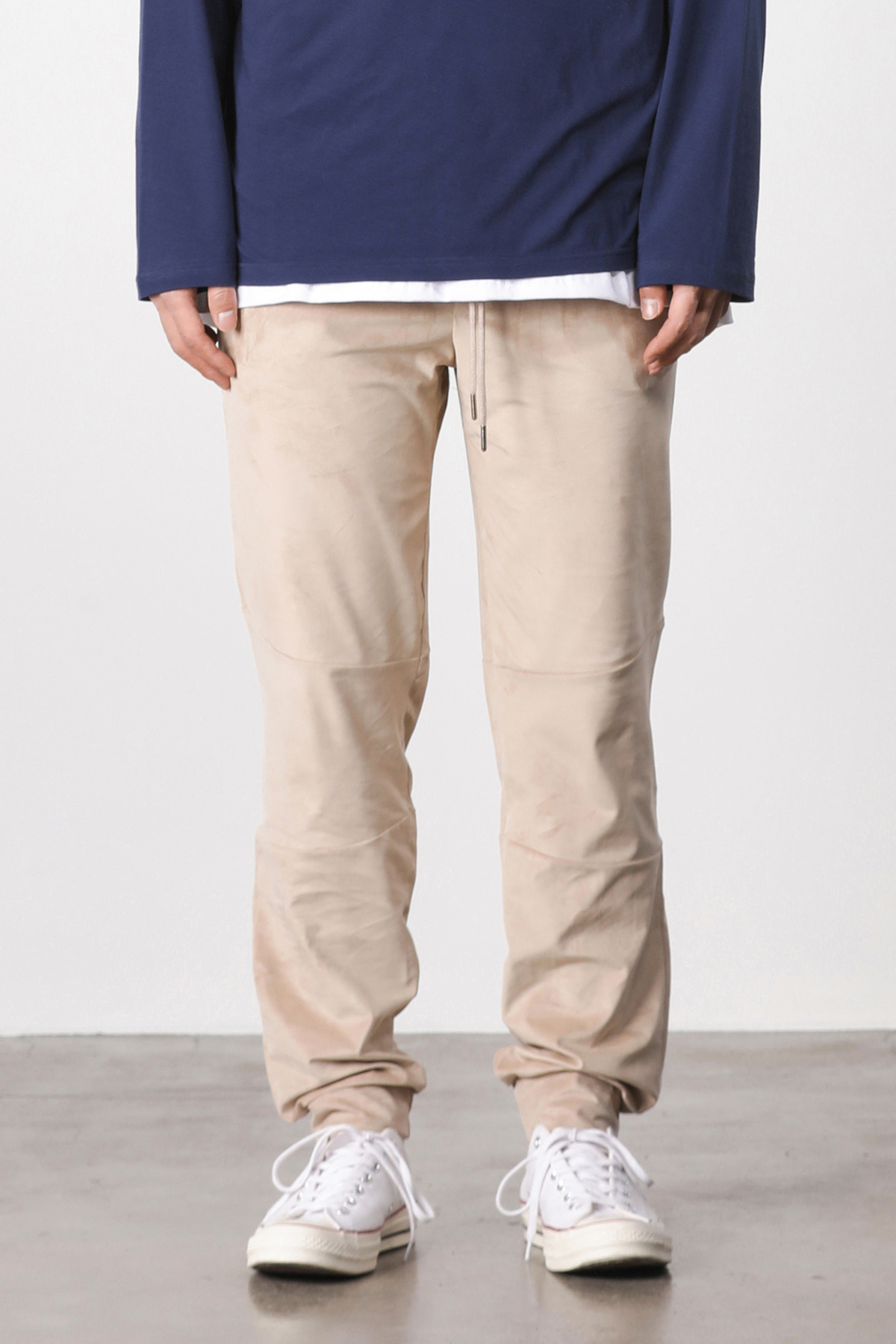 Suede loose fit jogger pants (beige) #jp05