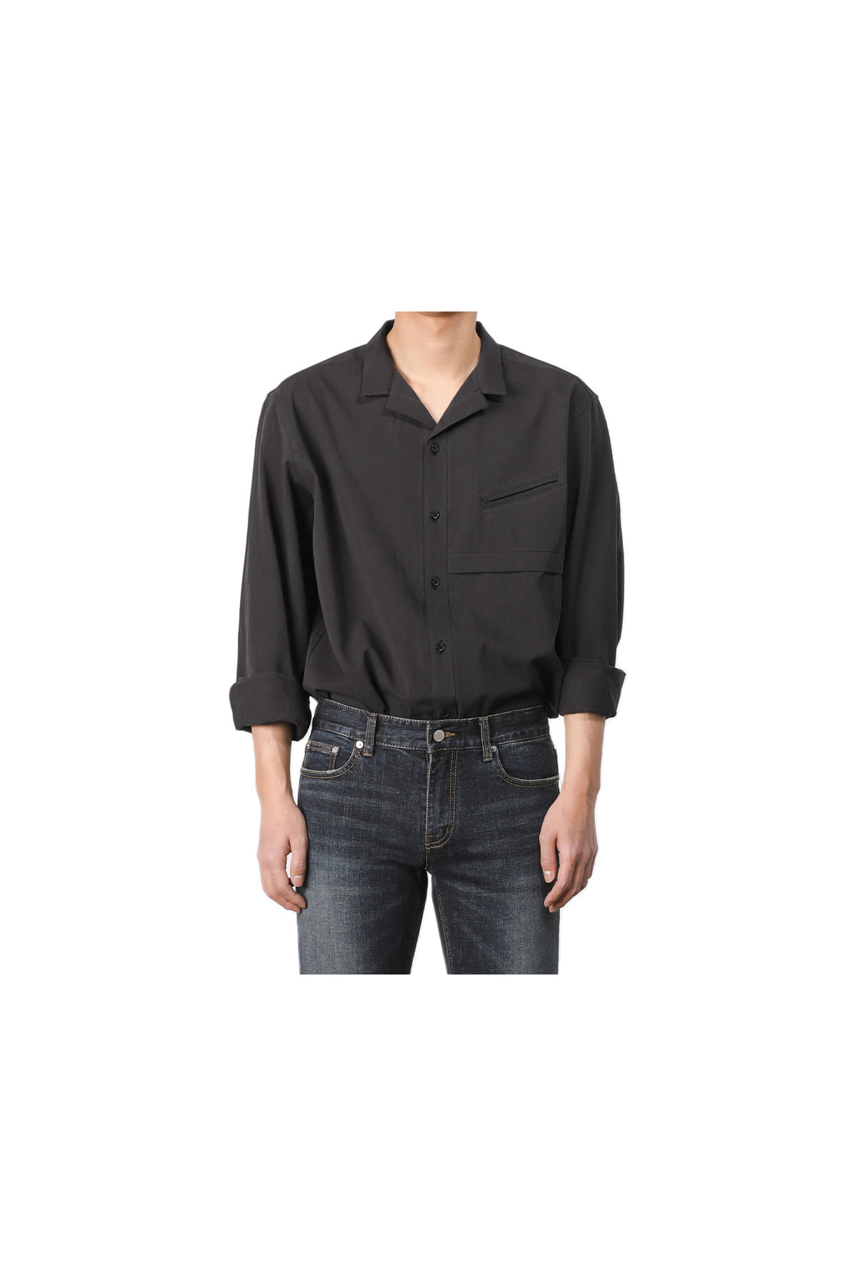 Ishinomaki open collar shirt (black) #jp34