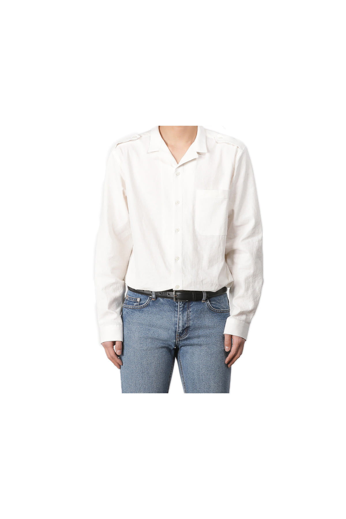 Nakama open collar shirt (white) #jp42