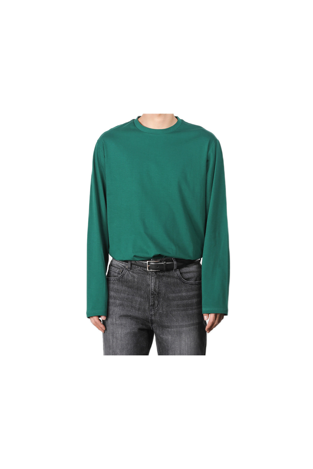 Pigment washing sleeve T-shirt (green) #jp30